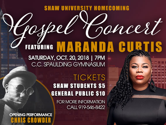 Homecoming Gospel Concert featuring Maranda Curtis and Chris Crowder